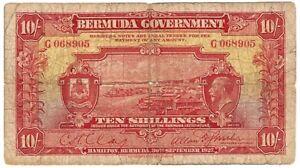 Bermuda 10 Shillings 1927 Pick 4 - Rare