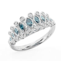 Round Brilliant Cut Diamonds And Aquamarine Ring Available in Metal 18K Gold