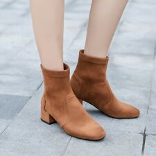 Women's Winter Thick Heels Set Foot Boots Suede Warm Chelsea Boots Casual Boots