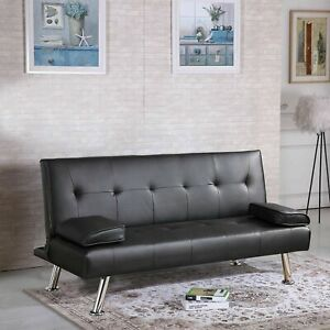 Luxury Modern Design 3 Seater Sofa Bed Faux Leather Black Sofa Bed Recliner
