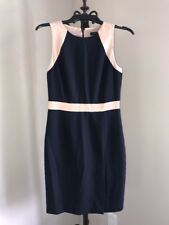 J CREW NAVY BLUE/TAN 100% WOOL SHEATH DRESS SZ 2