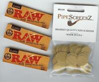 "3X RAW Classic 1 1/4 Size Rolling papers PLUS 100+ (3/4"") BRASS PIPE SCREENS"