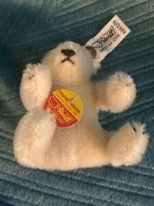 "STEIFF 0203/11 ORIGINAL white ear tag TEDDYBAR COLLECTORS EDITION 3"""