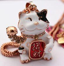 V30 #Betsey Johnson New Beautiful White Enamel Lucky Cat Necklace