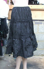 Atmosphere BNWT UK Sz 8 Delightful Black Gypsy Style 3 Layered Skirt NEW
