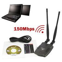High Power Long Range USB WiFi Wireless Adapter 150Mbps 802.11n/g/b w/2x Antenna