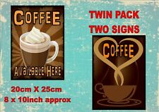 Vintage Style Coffee Bar Signs Coffee Advertising Antique Style Signs 2 PACK