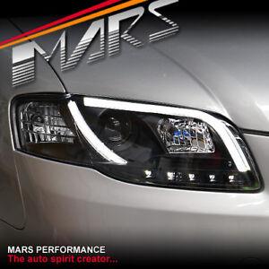 Black 3D LED Stripe DRL Projector Head Lights for AUDI A4 S4 B7 Sedan Avant
