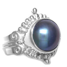 Offerings Sajen 925 Sterling Silver Blue Mabe Pearl Ring Size 7