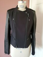 BCBG MAX AZRIA Asymmetrical Military Style Jacket Leather Sleeves Med NWT $298