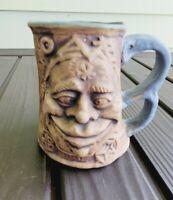 Vintage 1971 Rumph Jester With Troll Inside Pottery Mug tankard unsigned