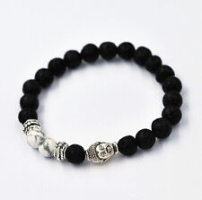 Man's 7MM Beads Lava Rock and White HOWLITE Stone Silver Buddha Head Bracelet