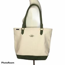 Lands End Medium Canvas Tote Purse Olive Green Suede Handles Bottom Monogram