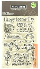 Mother's Day Sentiments Poly Clear Acrylic Stamp Set by Hero Arts CL334 NEW!