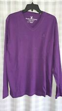 NEW Psycho Bunny Mens Cotton V-Neck Long Sleeve T-Shirt Purple Blackberry Size 5
