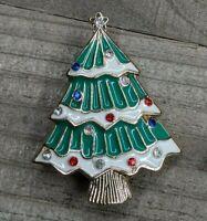 Vintage Gold Tone & Green Enamel Christmas Tree w/ Rhinestone Brooch