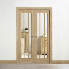 """Oak Lincoln Clear Glazed Internal Interior French Doors Room Divider 78"""" x 46"""""""