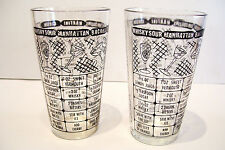 2 Cocktail Shaker Bar Glasses 7 Recipes Mid Century Barware Federal Glass