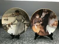 Pair of  COALPORT The Newlyn Artist Collectors Plates Girl in Blue & The Message