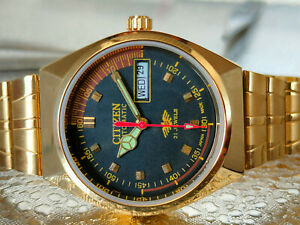 AUTOMATIC CITIZEN GOLD PLATED CHAIN BLACK COLOR DIAL DAY-DATE WATCH WORKING