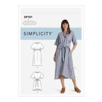 Simplicity R10506 Pullover Dress, Tie Front Option Sz 4-26 UNCUT Pattern S9101
