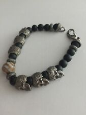 William Henry Yucatan BB5 Bracelet Sterling Silver Skull Onyx
