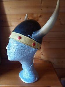 """Viking Horned Helmet Hat - Ditsy Vintage Cosplay Re-enactment Norsemen 23 3/4"""""""