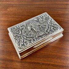 Antique Siam Sterling Silver Cigarette / Cigar / Jewelry Box Repousse Elephants