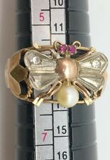 Vintage 10k Yellow Gold, Red Topaz, Pearl & Crystal Honey Bee Ring Size 6 Bug