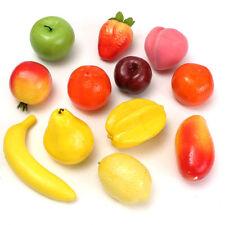 12pcs Set Lifelike Plastic Fruit Model Kitchen Realistic Fake Food Display