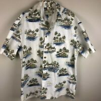 Island Shores Men's Short Sleeve Shirt Size XL White Blue Green Ocean Palm Tree