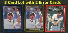 Jimmy Connors & Conners Error Cards _3 Card Lot_ 1992 IJ Blue only 2,400 Printed