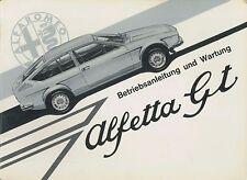 1975 ALFA ROMEO ALFETTA GT BETRIEBSANLEITUNG HANDBUCH OWNER'S MANUAL DEUTSCH