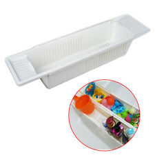 White Bath Tub Rack Extendable Shower Shelf Tray Tidy Storage Holder UK Stock
