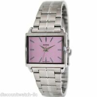 Casio LTP1334D-4A Ladies Silver Stainless Steel Quartz Watch with Pink Dial NEW