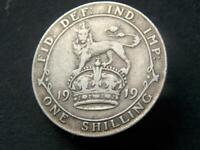 1919 WW1 Period Solid Sterling Silver Vintage  Shilling George V C031