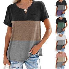 Summer Women Casual Short Sleeve T Shirt V Neck Tops Size Plus Blouse Sundress