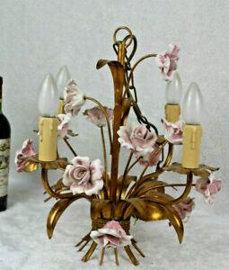 Vintage french metal gold gilt 1970 pink porcelain roses  chandelier lamp