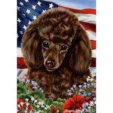 Poodle Chocolate Patriotic Flag