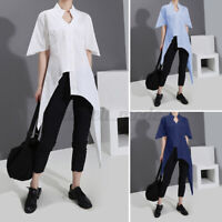 Women Asymmetric Shirt Holiday Cotton Tops Short Sleeve Plain Blouse Tunic Loose