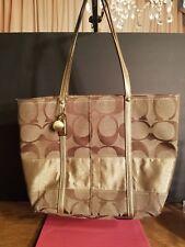 COACH Signature Brown Shoulder Bag Tote Purse11098 Hook Closure Medium