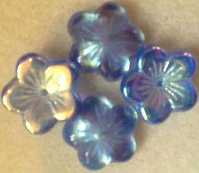 Czech Glass 16mm Large Flat Flower Beads - 10 Pack MEDIUM SAPPHIRE AB jewellery