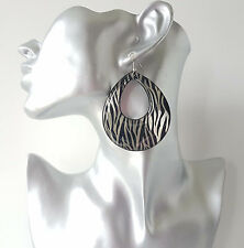 Gorgeous large black & dark grey teardrop shape acrylic hoop drop earrings