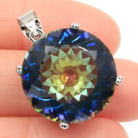 30x20mm SheCrown Big Gemstone 20mm Fire Rainbow Mystic Topaz 925  Silver Pendant