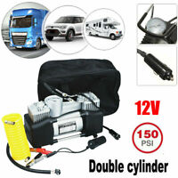 12V 150PSI Double Cylinder Air Compressor Pump Electric Car Tire Inflator w/ Bag