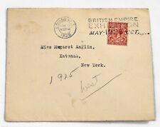 1925 Postal Cover London, New York British Empire Expo Three Half Pence Stamp