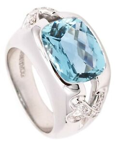 TIFFANY & CO DONALD CLAFFIN 18 KT GOLD RING WITH 6.06 Cts IN AQUAMARINE DIAMONDS