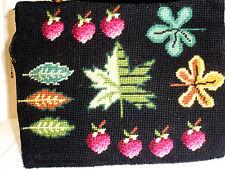 Vintage Tapestry Satchel Handbag Strawberries Leaves