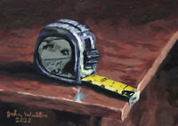 Original Still Life Painting - Tape Measure - (5 x 7 inch) by John Wallie