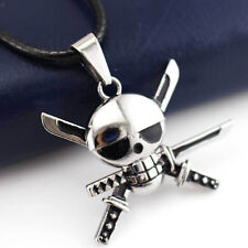 Anime One Piece Zoro 3 Sword Skull Alloy Pendant Necklace Cosplay Gift Fashion